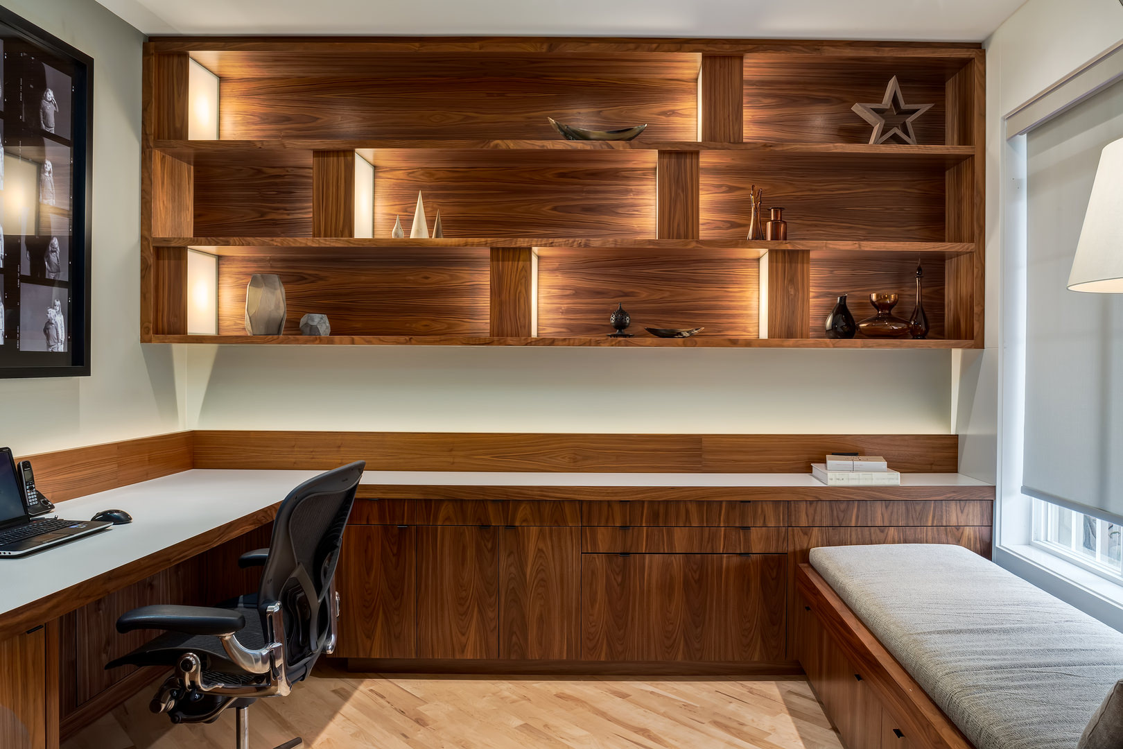 The study also has a shelf and a lying space besides the window.