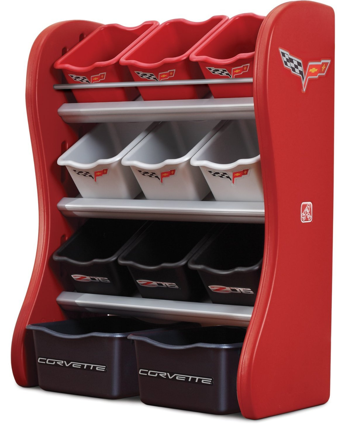 all-plastic toy organizer with larger bins