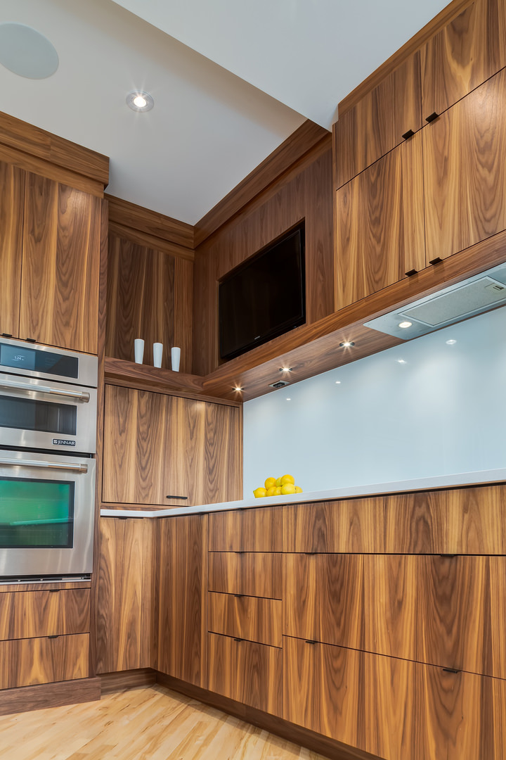 Recessed pot lights under the counter provide additional light.