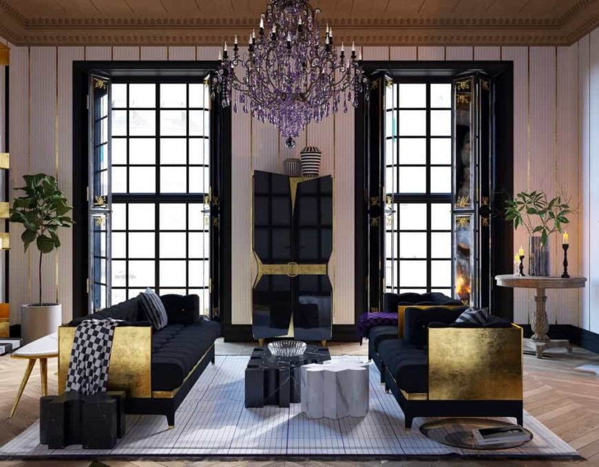 The living room of this house is topped with an eclectic purple crystal chandelier hanging from the middle of the earthy brown ceiling brightened by the pair of tall windows with black frames and folding black covers.