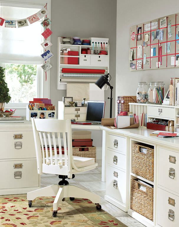 Beautiful Home Office and Craft Room with Built-In Corner L-Shaped Desk and Work Station.