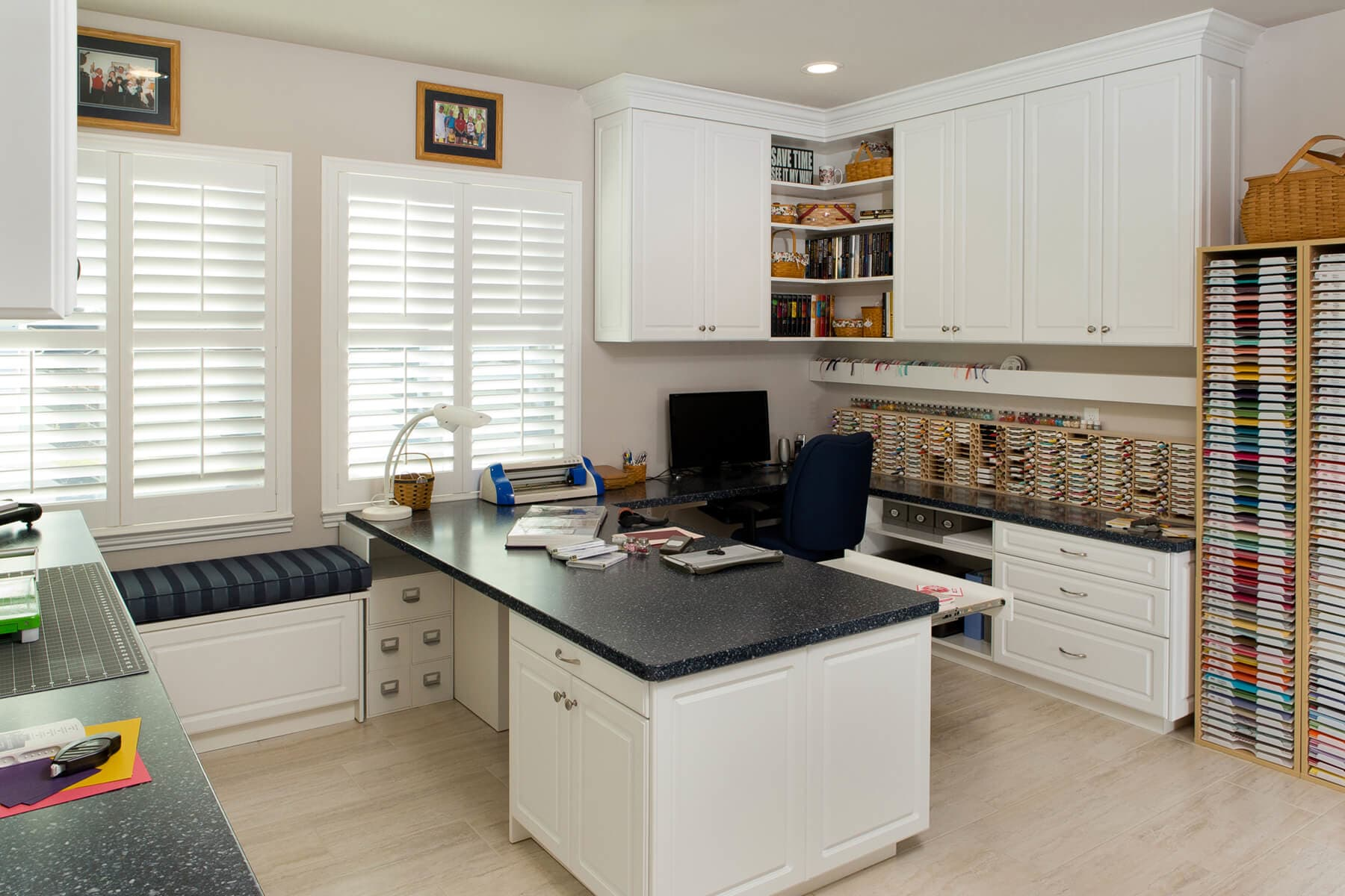 Bon White Home Office And Craft Room With Custom Built In Cabinetry