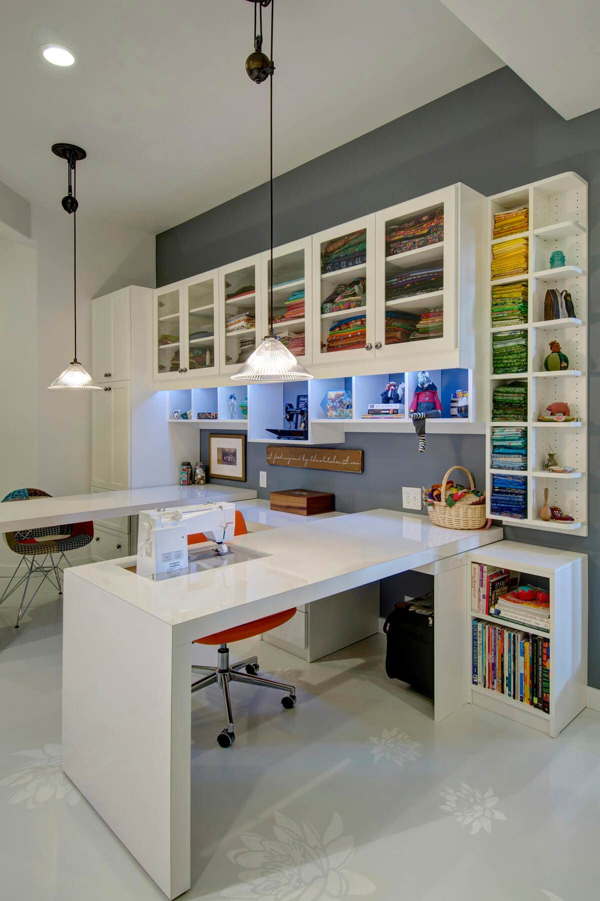 Spacious Sewing Room In Contemporary Design In Whit And Grey With Tall  Ceilings.