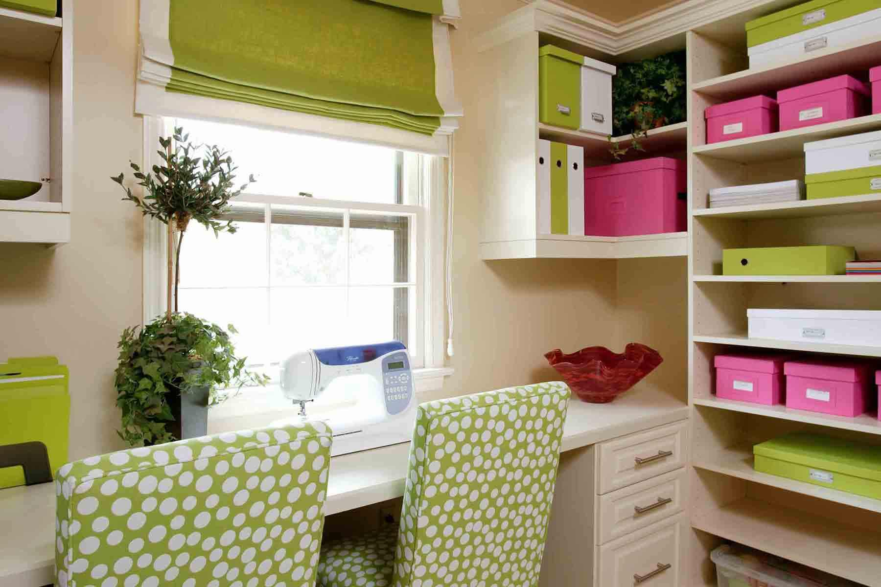 Green, Pink And White Craft And Sewing Room With Custom Built In Storage  From Floor