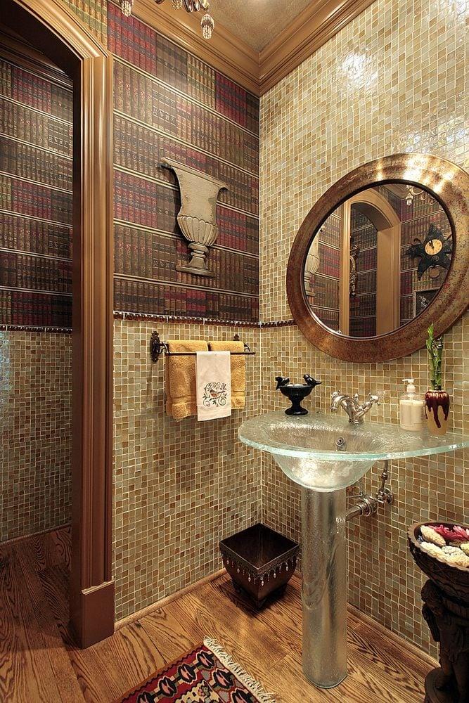 Powder room with glass pedestal sink