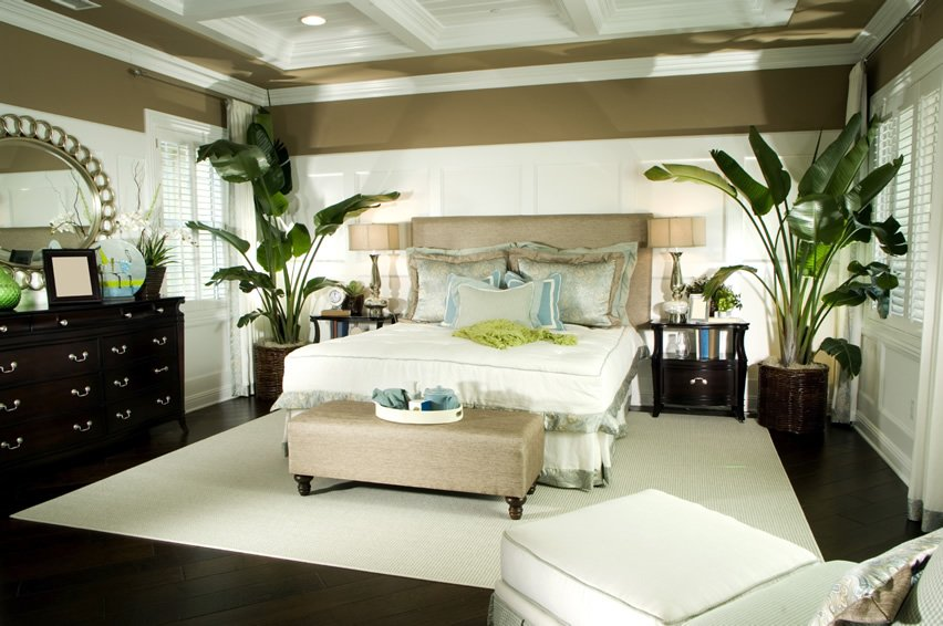 A Matching Coffered Ceiling And Walls Trims Carpet Make This Master Bedroom Look Light