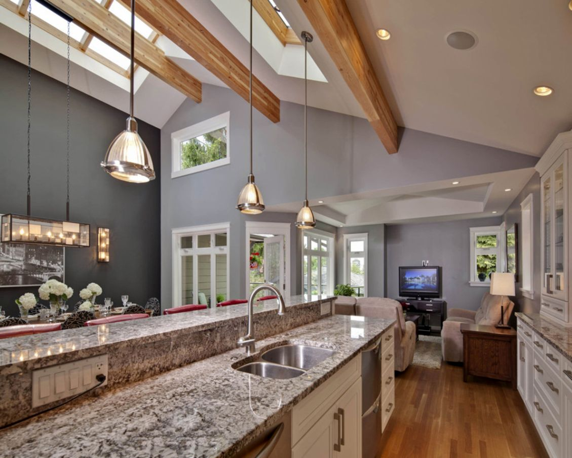 Kitchens With Vaulted Ceilings Home Stratosphere - Perfect kitchen ceiling lighting