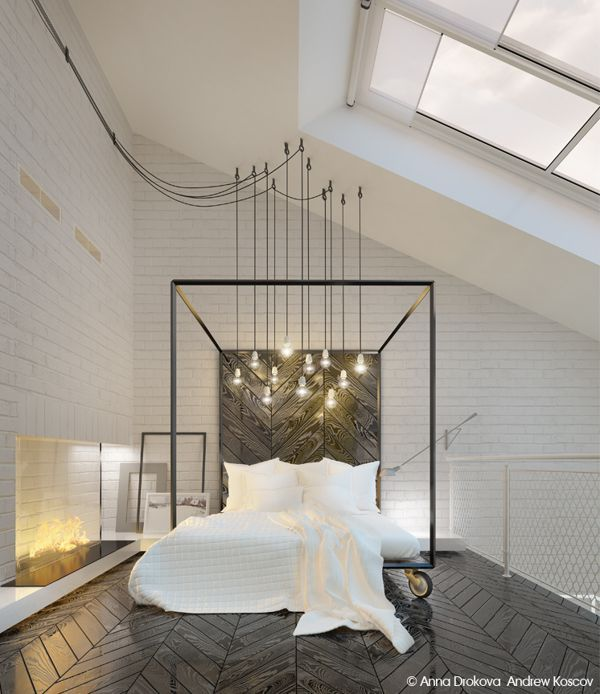 A primary bedroom that has stylish herringbone hardwood floors and a stunning bed headboard lighted by charming pendant lights.