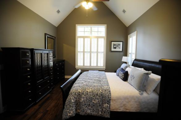 bedroom paint ideas dark wood furniture. this master bedroomu0027s gray walls bring a burst of cool tones thatu0027s contrasted by the dark bedroom paint ideas wood furniture
