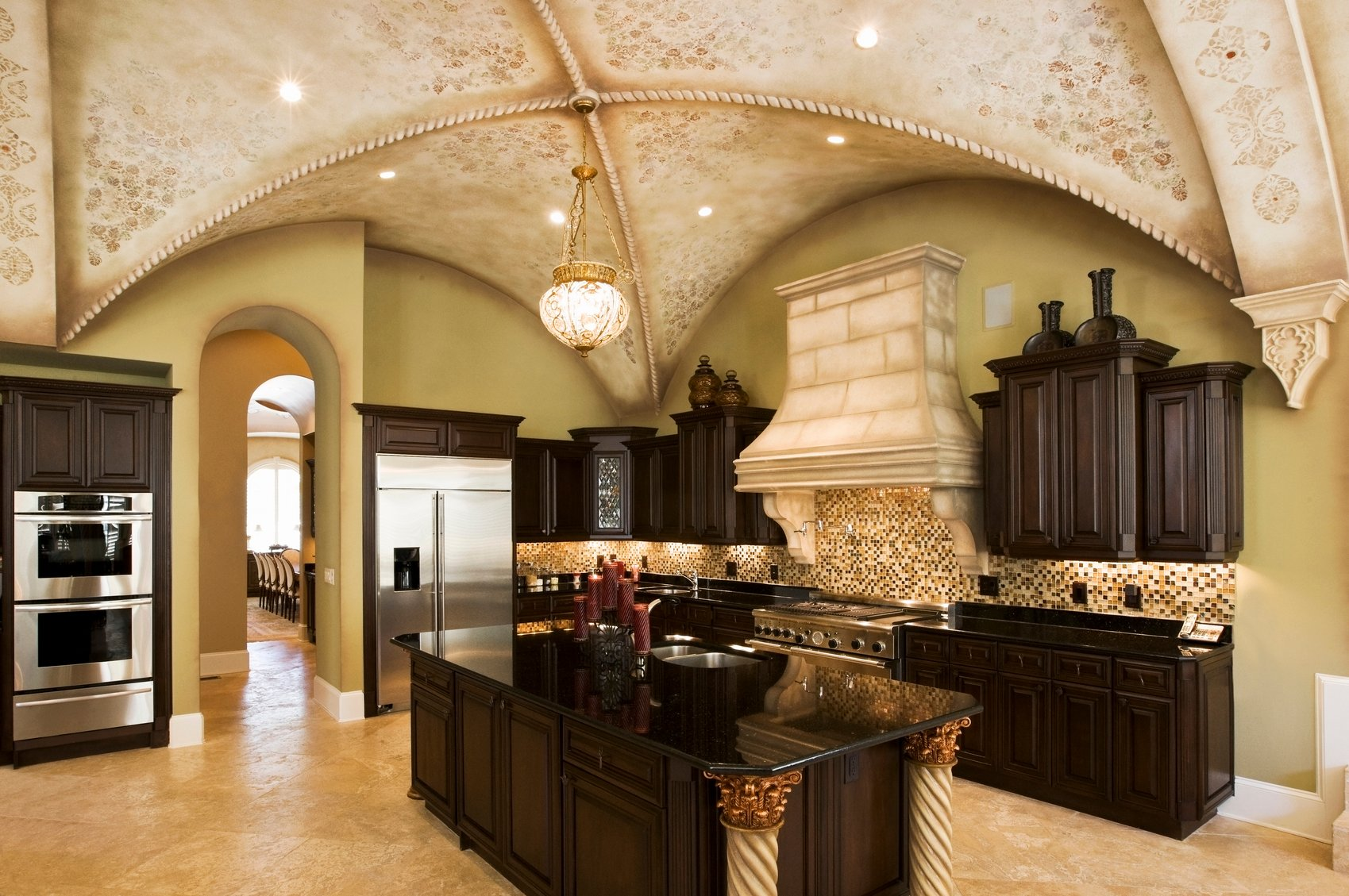 Marked with artistry and skill, this kitchen is definitely beautiful because of its ceiling.