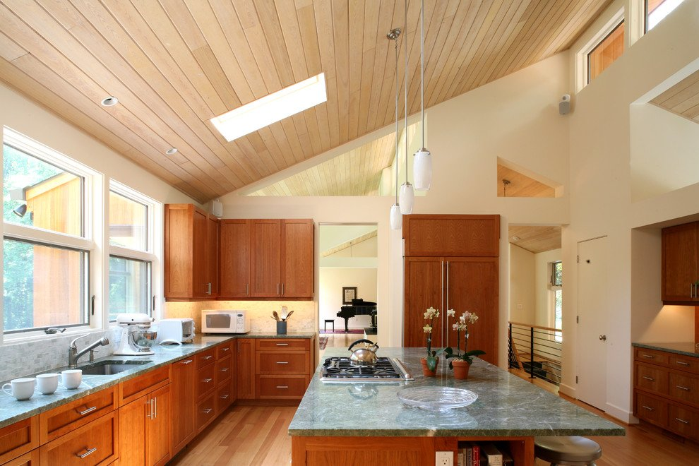 The slant in the roofing make this room feel larger than it is.