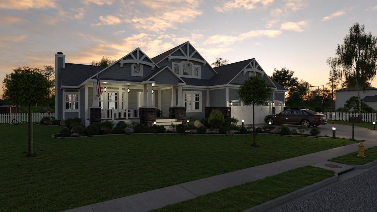 Home exterior 3D design at night showcasing lighting capabilities by Cedreo