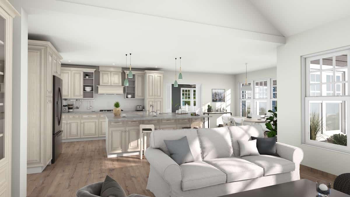 Open concept 3D kitchen design by Cedreo interior design software