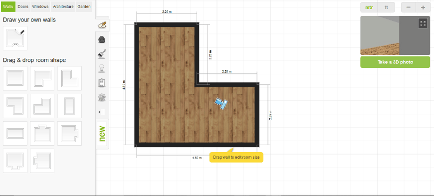 My Deco 3D Room Planner software build room layout feature