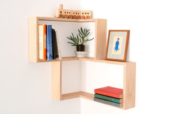 Mid-Century Floating Corner Shelf