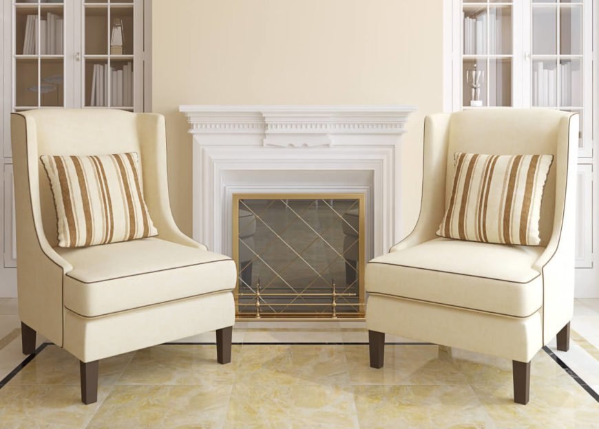 Accent Chairs For Living Room two accent chairs flanking fireplace in living room.