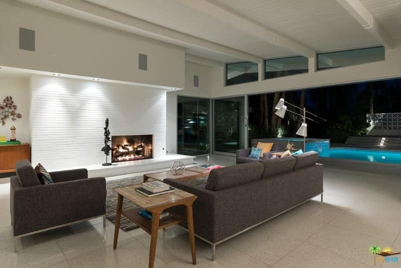 Contemporary family living room with a fireplace.