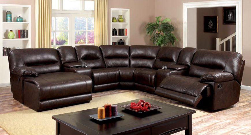Large l-shape reclining sectional sofa that accommodates 6 people.