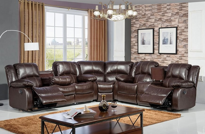 Large high-back leather reclining sectional sofa.