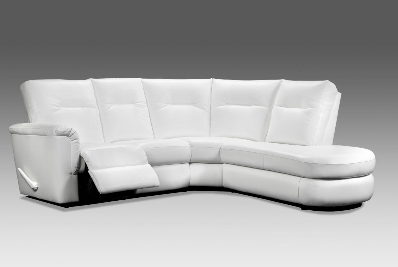 Modern white chaise lounge sectional sofa that reclines.