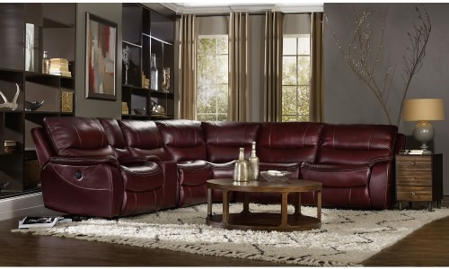 Huge deep red leather reclining sectional sofa.