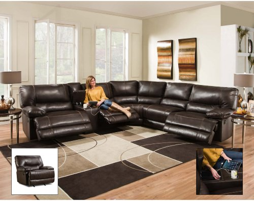 Contemporary brown leather sectional sofa recliner.