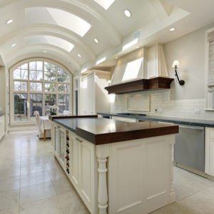Amazing kitchen with barrel ceiling with skylights