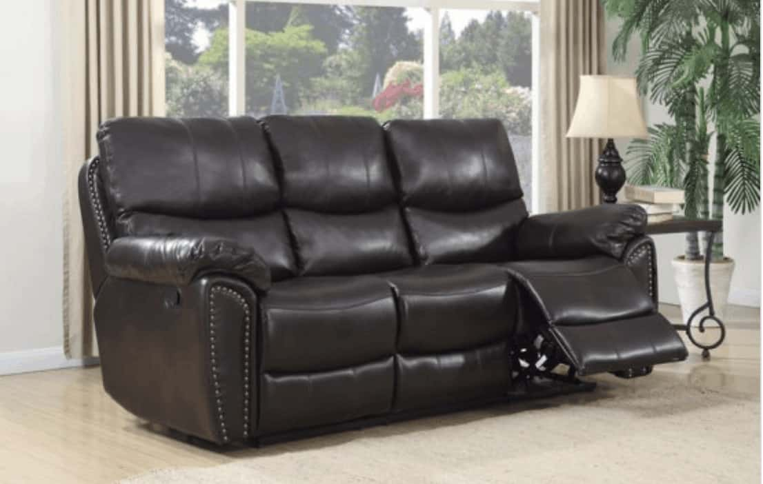 Leather reclining sofa.