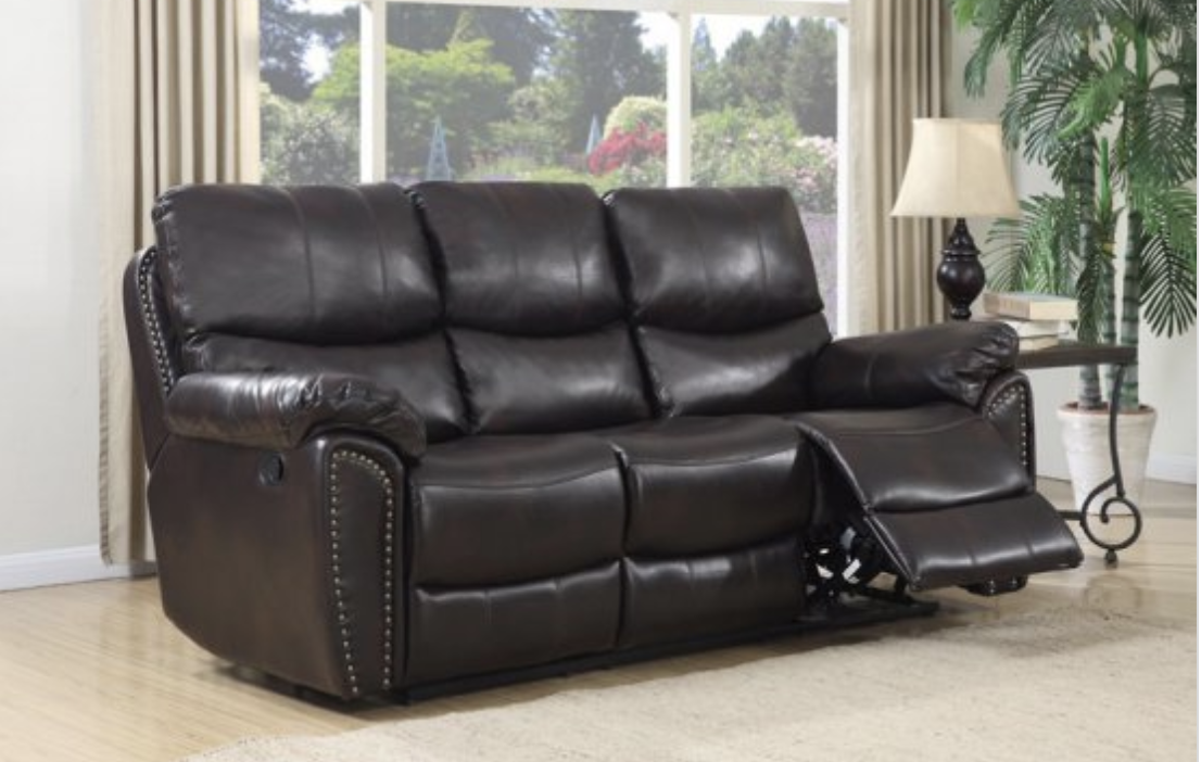 Leather reclining sofa.