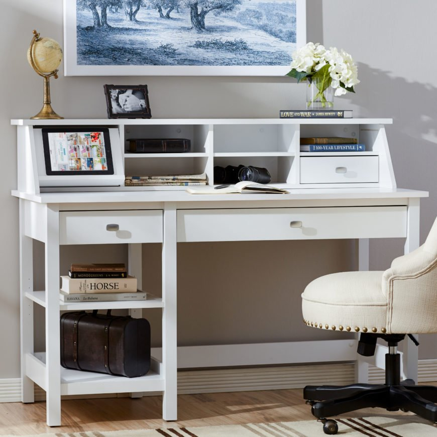 White traditional style computer desk.