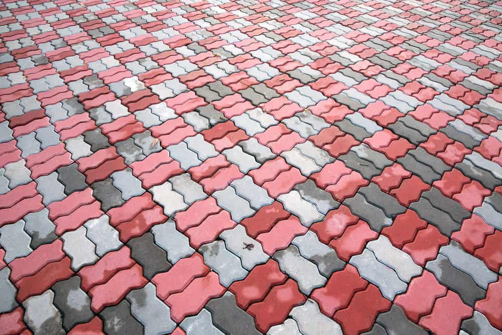 Checkered brick patio pattern