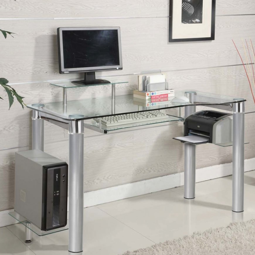 Glass top computer desk (this one also has glass legs)