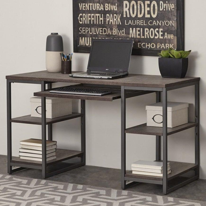 Metal computer desk.