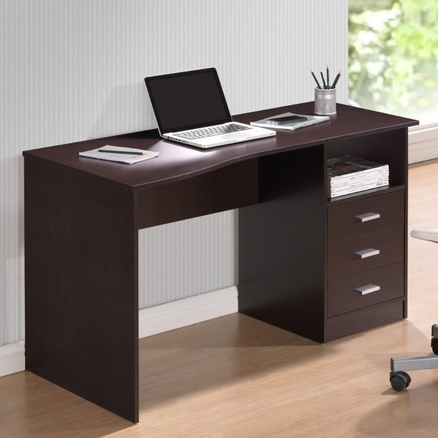 Computer desk with solid legs.