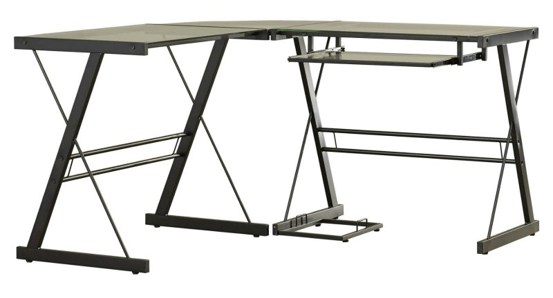 Computer desk with legs and feet.