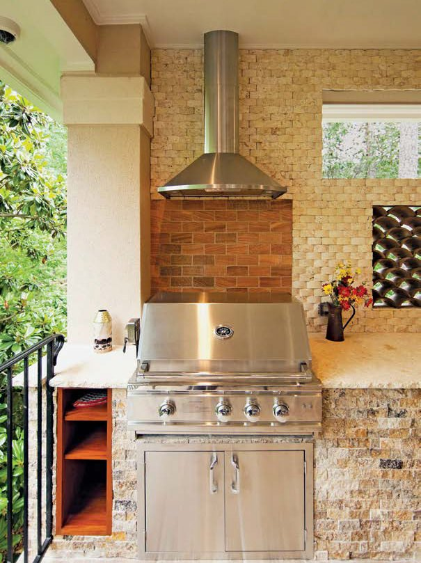 A close up look at this outdoor kitchen's top-of-the-line grill stove.