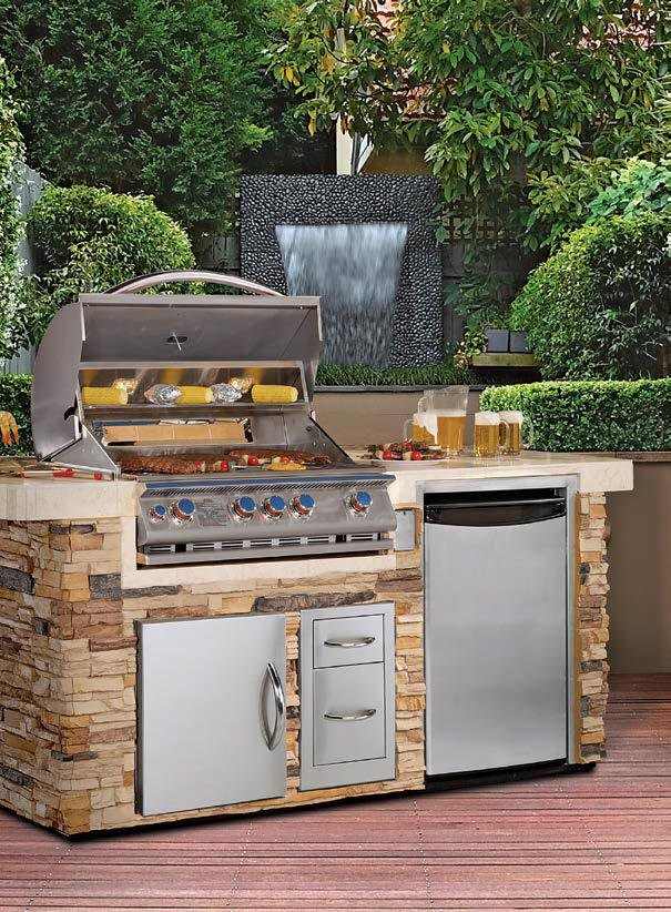 A close up look at the home's outdoor kitchen's large bar setup set on the home's deck.