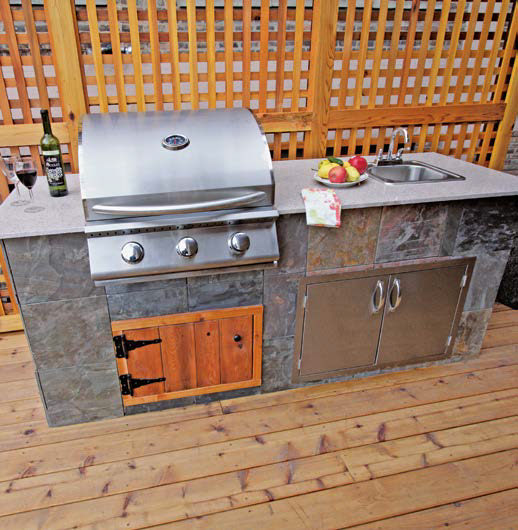 A small bar set for the outdoor kitchen set on the home's deck.