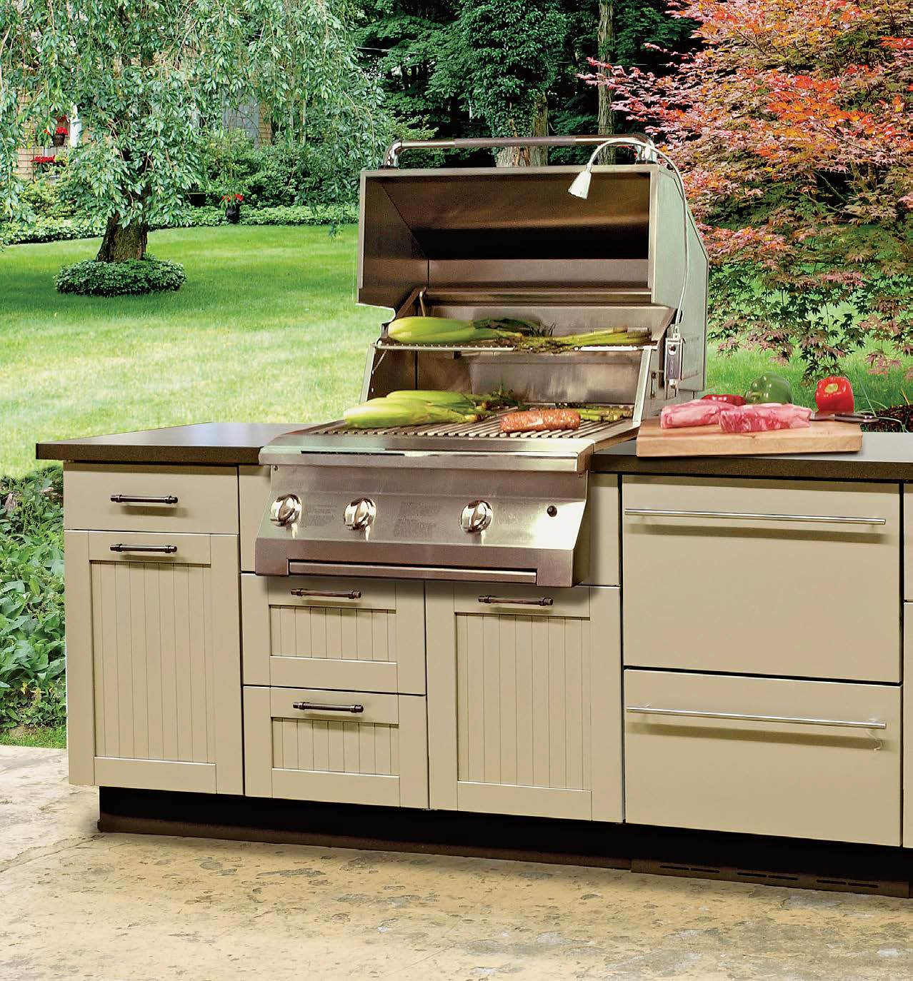 Close up look at this outdoor kitchen's bar setup with a classy countertop.