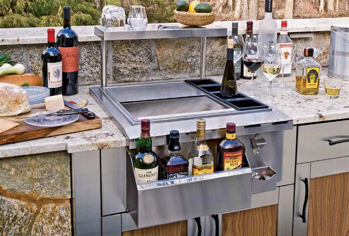 A close up look at this outdoor kitchen's bar.