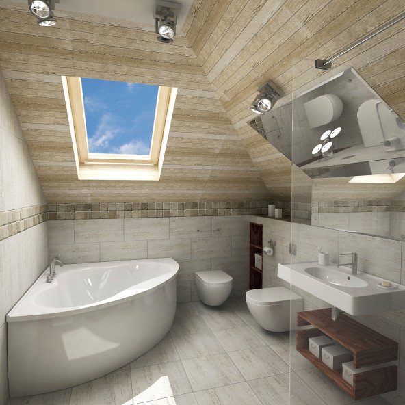 Small primary bathroom boasting a soaking tub and a walk-in shower, along with a wooden ceiling offering a skylight.