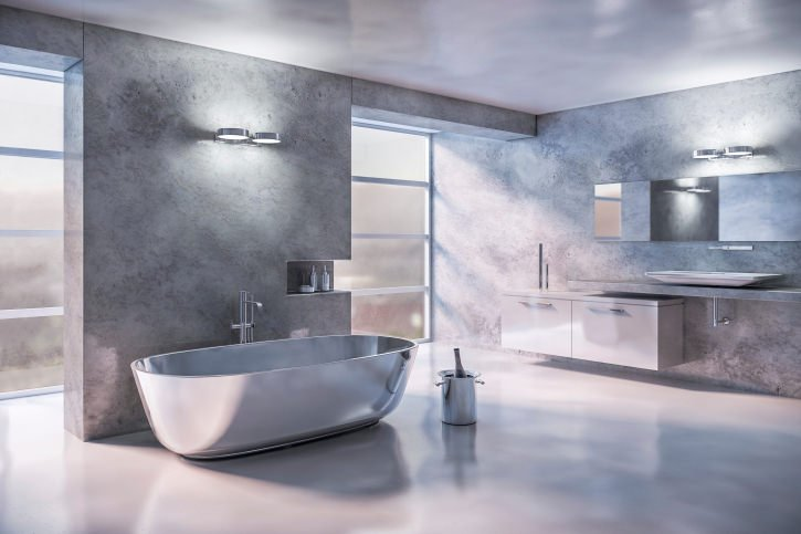 A magnificent primary bathroom with stunning walls, freestanding tub, sinks and flooring. This is just a wonderful bathroom idea.