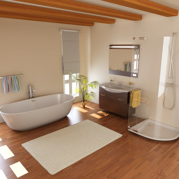 Master bathroom featuring a freestanding tub and an open shower along with a single sink surrounded by white walls.