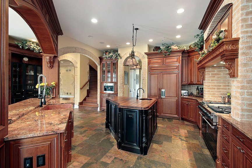 Rustic kitchen setup with a stylish flooring and countertops. The center island looks so charming alone.