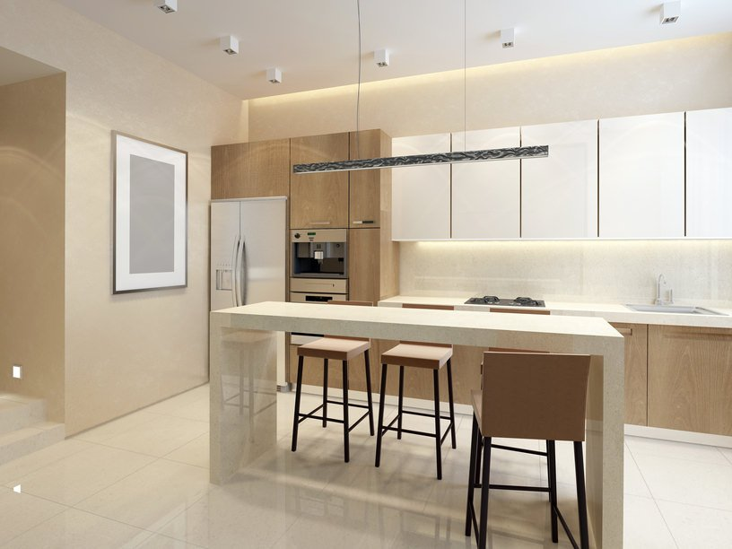 This single wall kitchen features a small center island that serves as a breakfast bar set on the white tiles flooring.