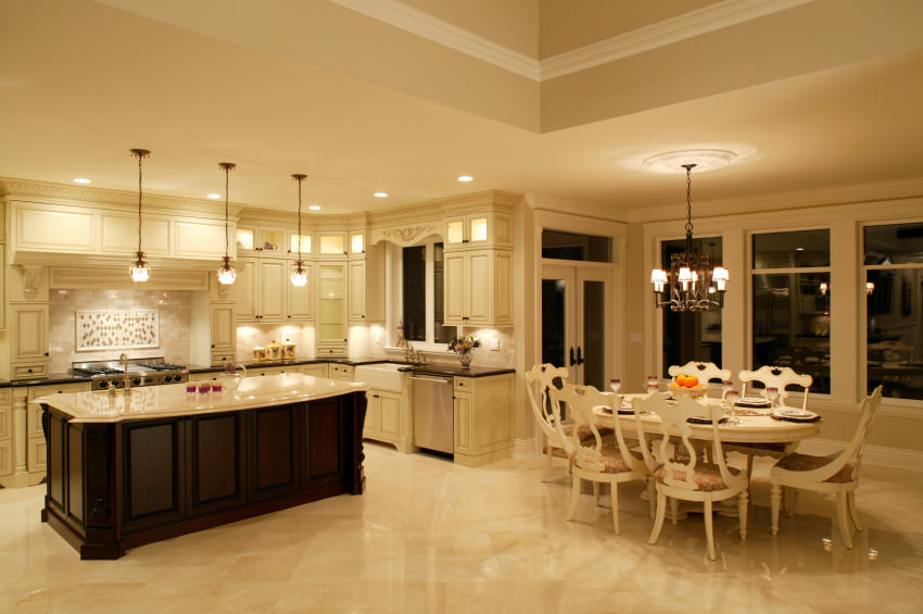 luxury estate house kitchen dining room