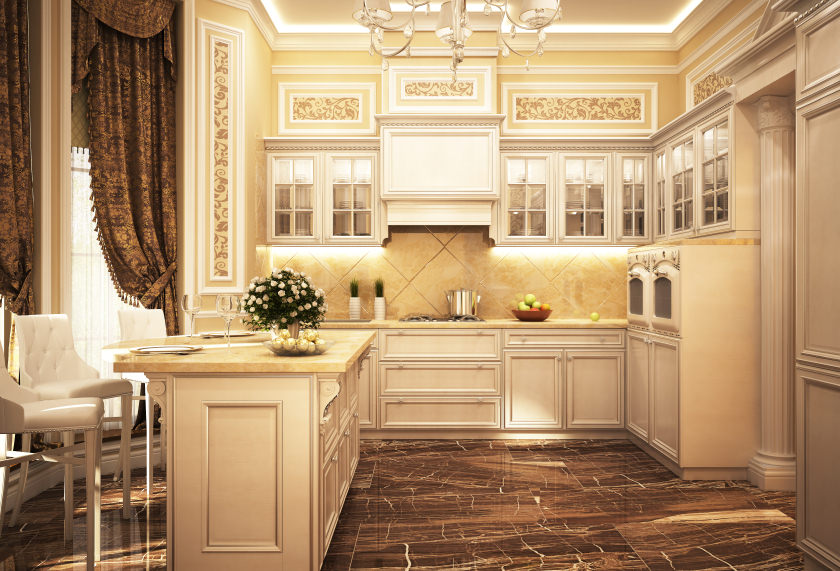 This lovely kitchen boasts stylish flooring and elegant walls together with the tray ceiling featuring a glamorous chandelier.
