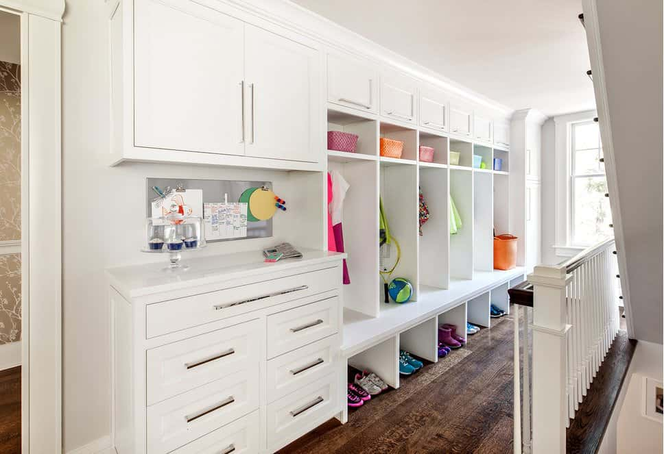 Mudroom with open-faced built-in locker
