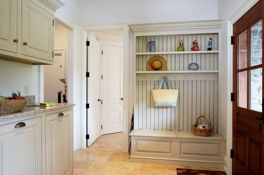 Example of a mudroom with counterspace