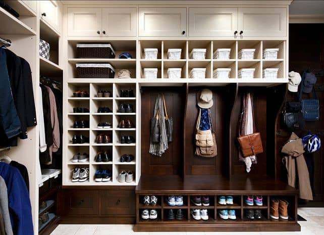 Example Of A Mudroom With Great Shoe Storage